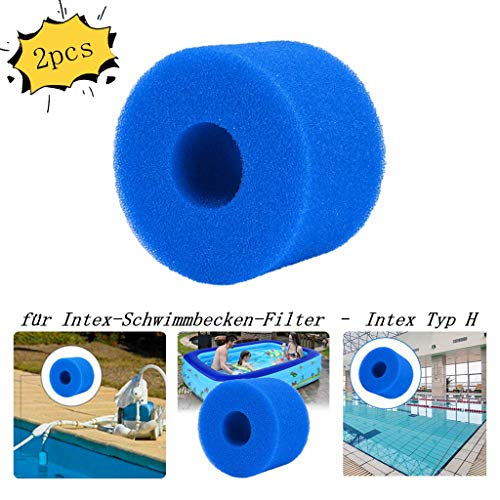 XIAOL Schwimmbad Filter Schwamm, für Intex-Schwimmbecken-Filter – für Intex Typ H,Filterkartuschen Pool,wiederverwendbar und waschbar Filterschwamm (2 Stück)