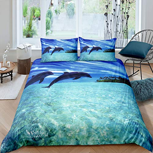 Erosebridal 2 Piece Fish Bedding Dolphin Duvet Cover Island Palm Tree Comforter Cover Set Luxury Breathable Microfiber Quilt Cover Twin Size Kids Ocean Decorative Bedding Set with 1 Pillow Sham