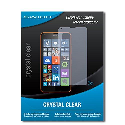 SWIDO® Bildschirmschutzfolie für Microsoft Lumia 640 Dual SIM [3 Stück] Kristall-Klar, Extrem Kratzfest, Schutz vor Kratzer, Folie, Glasfolie, Bildschirmschutz, Schutzfolie, Panzerfolie