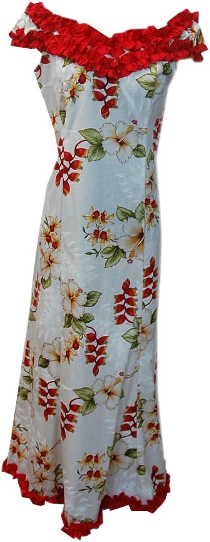Jade Fashions Inc. Women Long Ruffle Dance Heliconia White Flower Hawaiian Dress