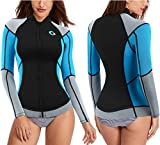 CtriLady Wetsuit Top, 1.5mm High-Necked Women's Wetsuit Long Sleeve Jacket Neoprene Wetsuits with Front Zipper for Swimming, Diving, Surfing, Boating, Sauna, Fitness and Sweating(Blue, 2XL)
