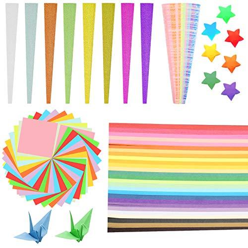 HAMOOM 1600 pcs Bunt Origami Papier Sterne Papierstreifen Faltpapier Farbig Origamipapier Leuchtend Sternpapier Glitzersternpapier Quadratisch Bastelpapier für DIY Kunst Bastelprojekte Handwerk