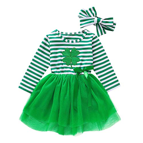Baby Boys Girls Cute ST Patricks Day Romper Clover Pants Headband with Hat
