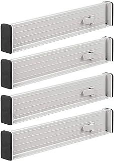 mDesign Juego de 4 separadores de cajones Regulables – Práctico Organizador de cajones de plástico para Armario y cómoda – Versátil Divisor de cajones de plástico – Gris