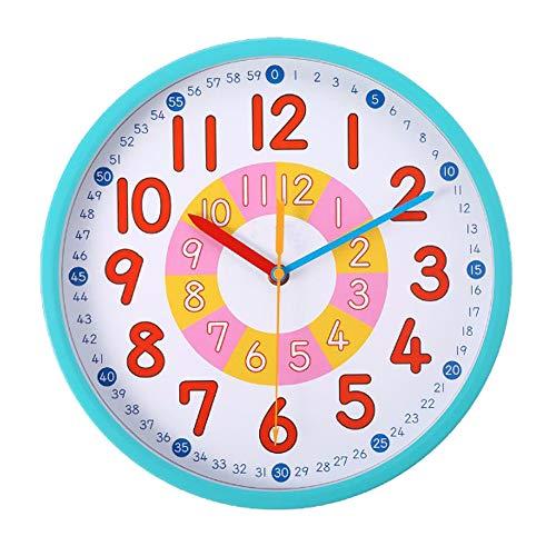 Mountxin Reloj De Pared Niños,Reloj Educativo para Niños,Reloj De Pared Grande Adecuado para Sala De Estar, Dormitorio, Aula
