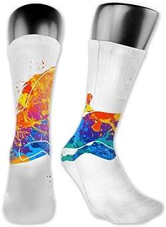 Leila Marcus, calcetines para hombre y mujer son cómodos, ligeros y sudorosos, divertidos para hombre, diseño de caballo galopante abstracto, tamaño mediano y largo