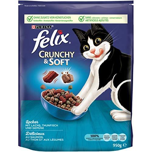 FELIX Crunchy & Soft Katzenfutter trocken, mit Lachs und Thunfisch, 4er Pack (4 x 950g)