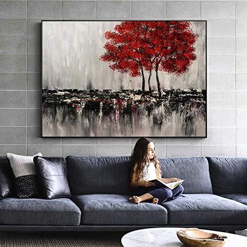 sanzangtang Retro Landschaftsplakate und -drucke der modernen Bäume abstrakte natürliche rahmenlose Malerei für Wohnzimmerdekoration 30cmx45cm