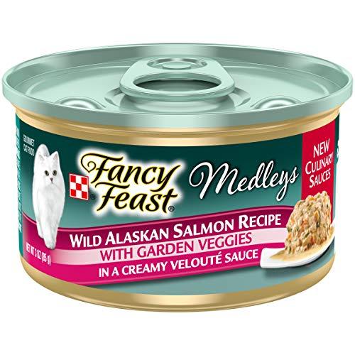 Purina Fancy Feast High Protein Wet Cat Food, Medleys Wild Alaskan Salmon Recipe with Garden Veggies in Sauce - (24) 3 oz. Cans