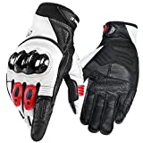 INBIKE Motorcycle Gloves, 3mm EVA Palm Pad Motorbike Gloves Genuine Leather Full Finger