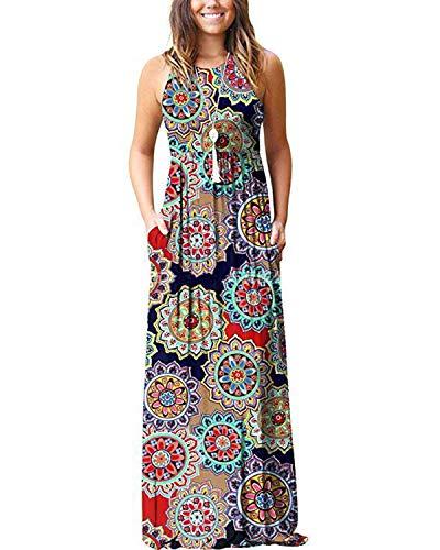 Kidsform Women's Loose Maxi Dress Short Sleeve Casual Kaftan Party Long Dresses Plain Solid with Pockets Navy Blue L