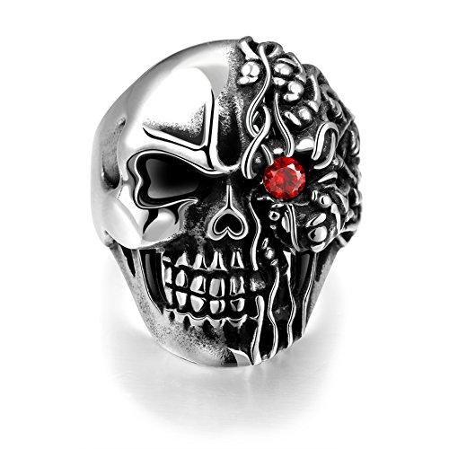 iLove EU Edelstahl Ring Bandring Zirkonia Silber Schwarz Rot Einäugige Narbige Totenkopf Schädel Gotik Herren - Größe 59