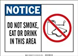 Brady 83658 Self Sticking Polyester, 7' X 10' Notice Sign Legend, 'Do Not Smoke, Eat Or Drink In This Area (W/Picto)'