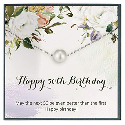 Regalo de 50 cumpleaños para mujer, collar de 50 cumpleaños, ideal para regalo de 50 años de edad, tarjeta de 50 cumpleaños para 50 cumpleaños