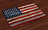 Ambesonne 4th of July Place Mats Set of 4, Wooden Planks Painted as United States Flag Patriotic Country Style, Washable Fabric Placemats for Dining Table, Standard Size, Red Beige