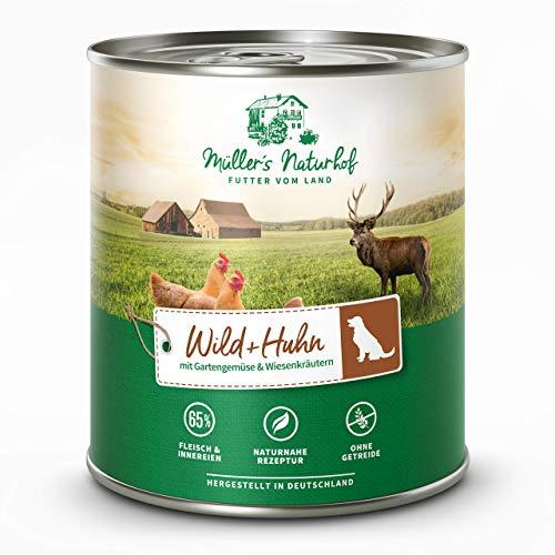 Müllers Naturhof | Wild und Huhn | 30 x 800 g | Nassfutter für alle Hunderassen | getreidefrei und glutenfrei | mit Gartengemüse und Wiesenkräutern | naturnahe Rezeptur mit 65% Fleisch
