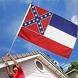 TTCPUYSA 3x5 ft Amerika Mississippi State Flag, lebendige Farben mit Messing Ösen Mississippi MS Flaggen, langlebige Outdoor-Flagge