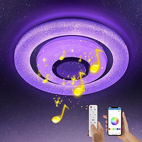 Wayrank Plafoniera LED RGB con Altoparlante Bluetooth,36W Lampada da Soffitto Dimmerabile con Telecomando e Controllo APP, Lampadario per Cameretta Cucina Soggiorno