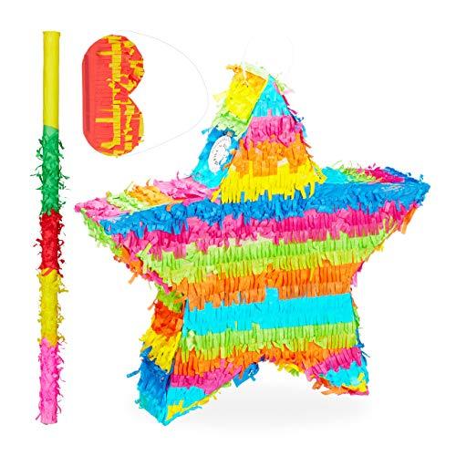 Relaxdays Piñata Estrella sin Relleno con Palo y Antifaz, Papel, Multicolor, 43,5 x 45,5 x 9 cm