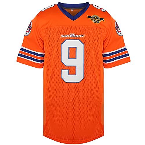 Phoneutrix Bobby Boucher #9 The Waterboy Adam Sandler Movie Mud Dogs Bourbon Bowl Football Jersey (Orange, Small)
