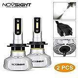 NOVSIGHT H7 Ampoule phare Voiture LED,Etanche IP65 10000LM, Certification DOT,phare de voiture Blanc Froid 6500K kit de conversion Tout-en-un (baquet de 2)