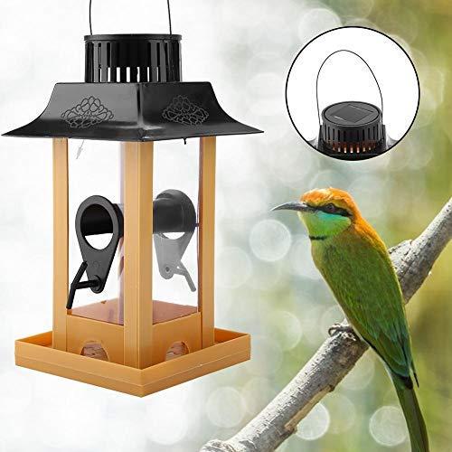 HEEPDD Solar Bird Feeder, automatische wildvogeltoevoer met led-licht hangende duivenkraag voederstation voor het aantrekken van vogels buiten, balkon, achtertuin