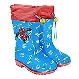 PERLETTI Botas de Agua Ricky Zoom Niño Jardín de Infantes - Botas Impermeables Azul con Detalles Rojos y Amarillos - Botas Lluvia con Suela Antideslizante y Cierre con Cordón (Azul, 22)