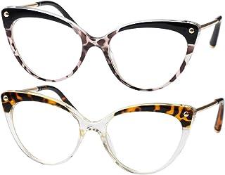 3f43c7bcb3b69 SOOLALA Ladies Oversized Cat Eye Reading Glass Modern Eyeglass Frame