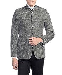 Wintage Mens Linen Royal Bandhgala Festive Grey Blazer