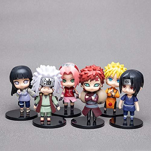 Naruto - Juego de 6 figuras pop con forma de personajes, estatua de PVC, modelo Naruto Sasuke Jiraiya Gaara Sakura Hinata