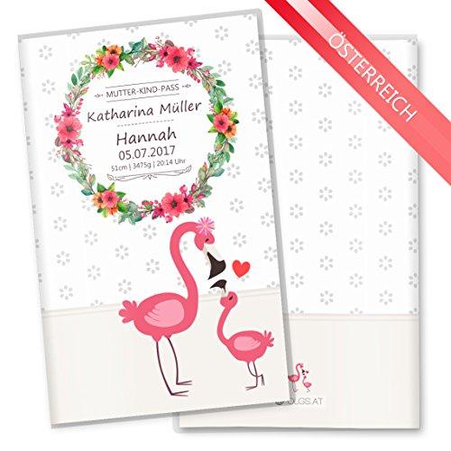 Mutter-Kind-Pass Hülle 3-teilig Mommy Love Daisy Schutzhülle tolle Geschenkidee personalisierbar mit Namen & Geburtsdatum (MuKi-Pass Österreich personalisiert, Flamingo)