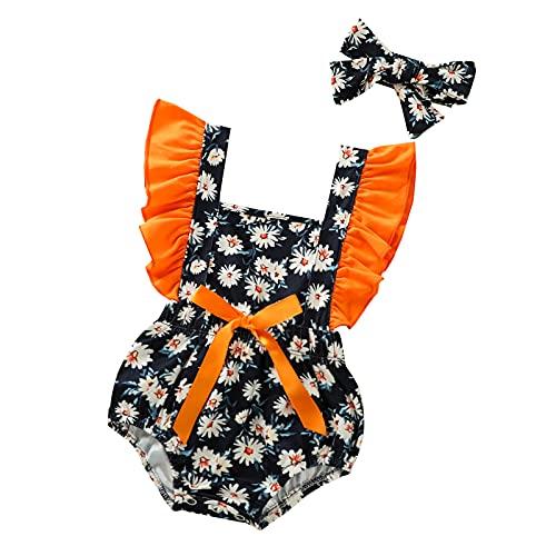 Juego de 2 piezas de ropa de verano para recién nacido, diseño de margaritas, decoración de encaje, manga de mosca + lazo