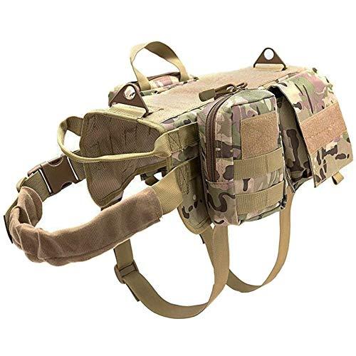MILECN Tactical Hundegeschirr Molle-System Vest Adjustable, Tarnung Outdoor Training Harness mit 3 abnehmbaren Beutel - Tactical Dog Training Vest Harness,Tarnen,L