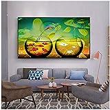 MULMF Abstrakte Wandkunst Leinwand Malerei Hai Goldfisch Nordische Poster Wandbilder Für Wohnzimmer Nach Hause Maison Umzug- 50X75Cm Kein Rahmen