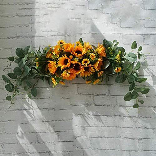 XXLYY Plantas Artificiales, Guirnalda de Flores Artificiales, Guirnalda de umbral de Puerta, centros de Mesa Florales de Boda para el hogar, Cocina, jardín, Fiesta, decoración de Bricolaje, Amarillo
