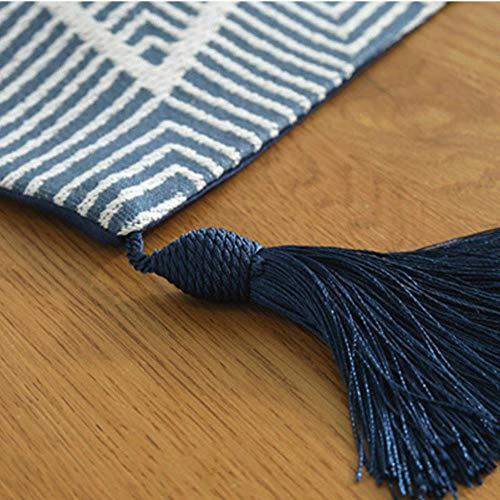 Coner moderne jacquardstof tafelloper dressoirsjaals met kwastje stropdas textuur machinewas bed lopers, donkerblauw, 32 * 220cm