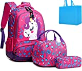Girls Unicorn Backpacks Students School Bags Kids Bookbags Set Teens Shoulder Bags and Lunch Tote Bag Pencil Case (Rose Red Set)