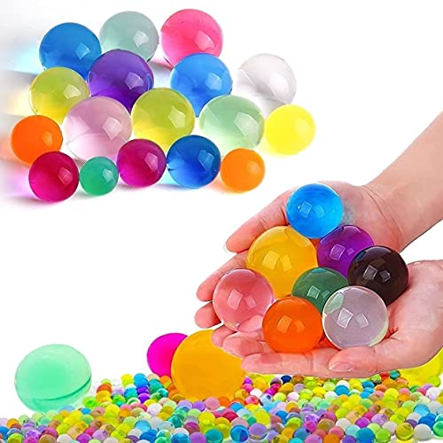 400pcs Jumbo & 20000 Small Water Beads Kit for Kids Sensory Toys - Giant Gel Beads, Large Colorful Soft Beads, Rainbow Mix Water Growing Balls for Plants Vase Filler, Home Decorations, Non Toxic