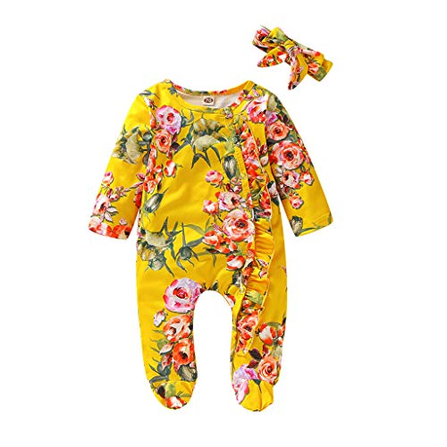 KUDICO Combinaison Bébé Fille Hiver Pyjama Naissance Automne Grenouillère Vêtements Manteau Manche Longue Body Barboteuse Combipilote Jumpsuit Fleur