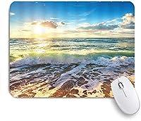 ECOMAOMI 可愛いマウスパッド オーシャンウェーブトロピカルハワイオーシャンビーチサンライズサンセットスカイシービュー 滑り止めゴムバッキングマウスパッドノートブックコンピュータマウスマット