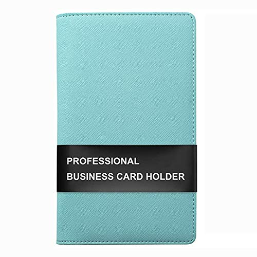 Sooez Leather Business Card Book Holder, Professional Business Cards Book Organizer PU Name Card Credit Cards Book Holder Booklet (Mint Green)