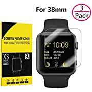 [3 Pack] Apple Watch 38mm Screen Protector,Hartser 9H Hardness, Anti-Bubble, Anti-Scratch, HD Clear Tempered Glass Screen Protector for Apple Watch 38mm (Series 3/2/1 Compatible)