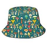 BOIPEEI Regalos del día del Padre Cubo con Estampado de Setas Actividades al Aire Libre para Mujeres Viajes Sombrero de Pescador Sombrero de Sol Sombrero