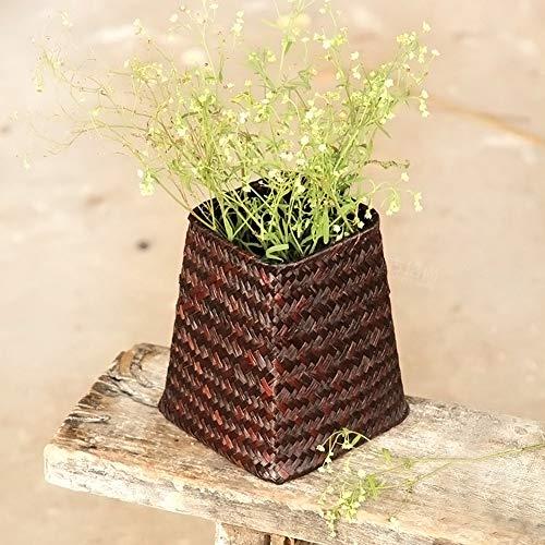 Homeofying Mini petit pot de fleurs en paille fait à la main fait à la main - Organiseur de vêtements divers en rotin - Panier à plantes - Café