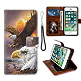 IPKaKa Wallet Case for iPhone 6 iPhone 6S - Eagle Pattern with Viewing Platform and Card Slot Magnetic Buckle Flap and Wristband Wallet Clip
