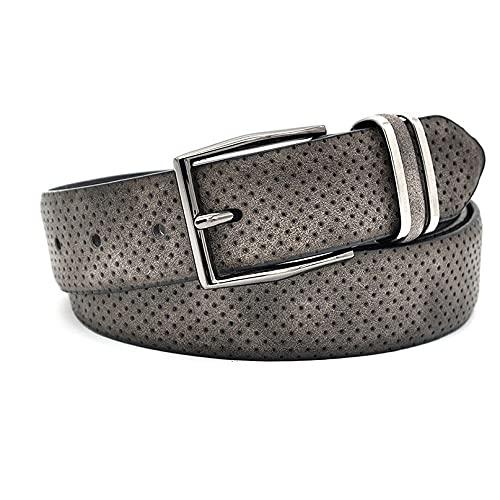 GWYUQG Cinturón informal de moda para hombre, con hebilla de metal, estilo de punto, estilo casual, para hombre, color gris oscuro (color: gris, tamaño: 110 cm)