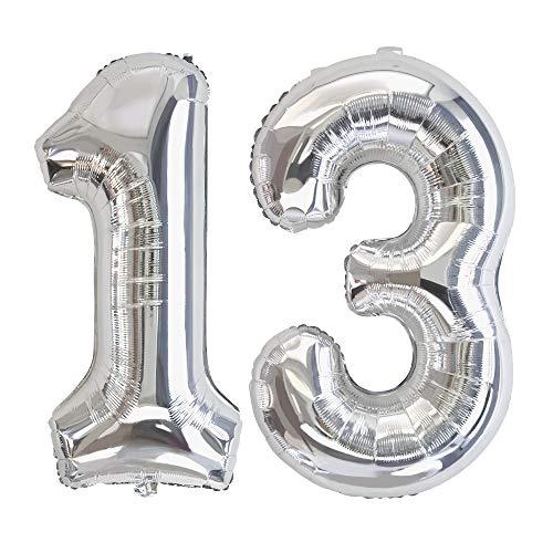 Ponmoo Foil Globo Número 13 31 Plata, Gigante Numeros 0 1 2 3 4 5 6 7 8 9 10-19 20-29 30 40 50 60 70 80 90 100, Grande Globos para La Boda Aniversario, Globo de Cumpleaños Fiesta Decoración