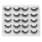 Hannahool 10 Pairs 3D Natural False Eyelashes Reusable Fluffy Cross Faux Mink Long Stripe Lashes Makeup Volume Eye Lashes Exensions (Y04)