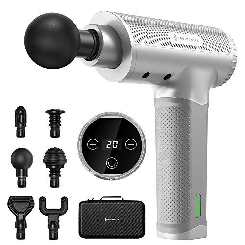 Massage Gun for Athletes, TaoTronics Portable Deep Tissue Percussion Muscle Massager PRO with IC Chip Control, 20 Speed Levels, 6 Massage Heads, Super Quiet Brushless Motor for Gym Post-Workout Home