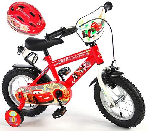 Cars Kinderfahrrad Disney 12 Zoll + Fahrradhelm 51-55 cm | Felgenbremse Rücktrittbremse Stützräder Trinkflasche Vormontiert Alter 3-4 1/2 Jahre